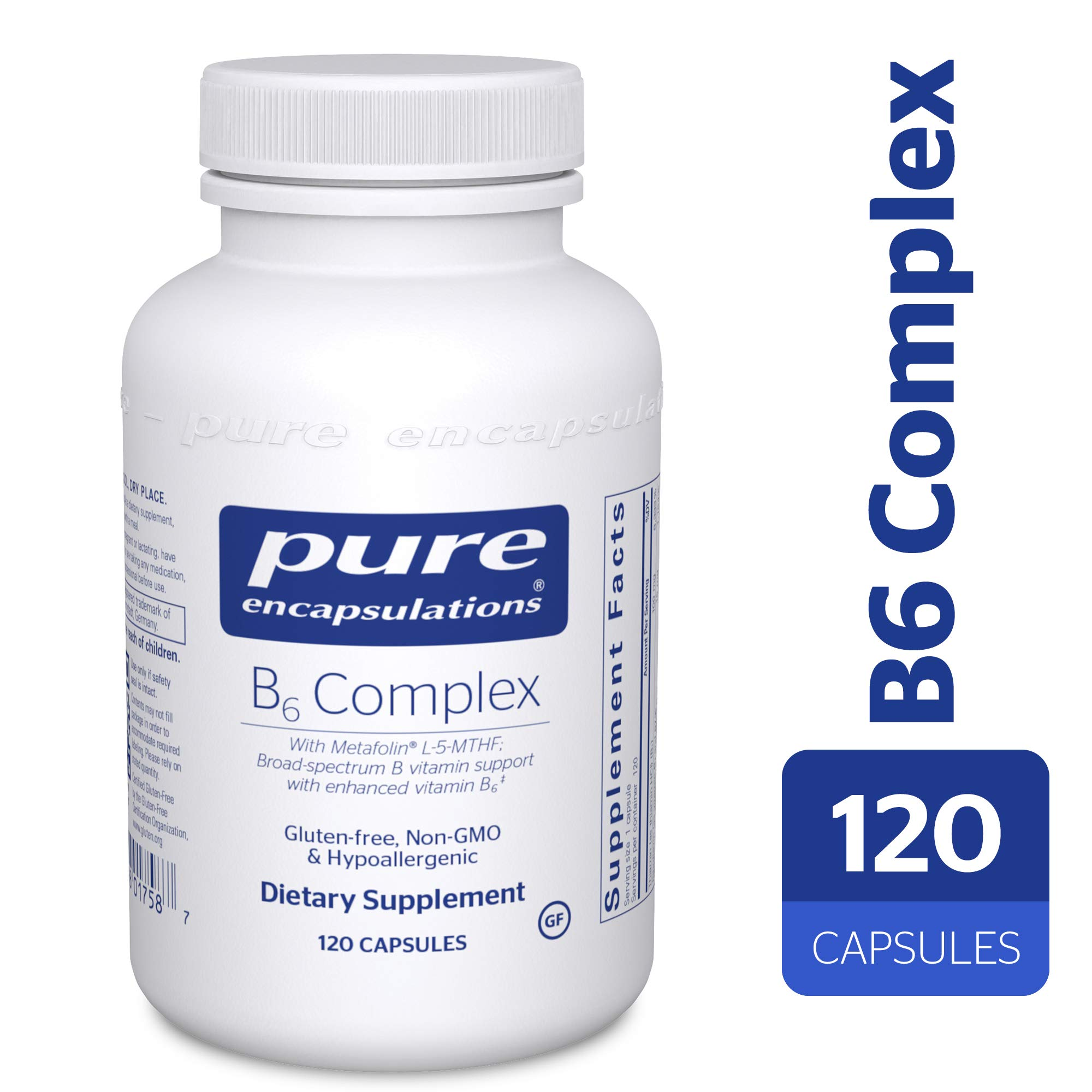 Pure Encapsulations - B6 Complex - Hypoallergenic Dietary Supplement with Metafolin L-5-MTHF - 120 Capsules by Pure Encapsulations