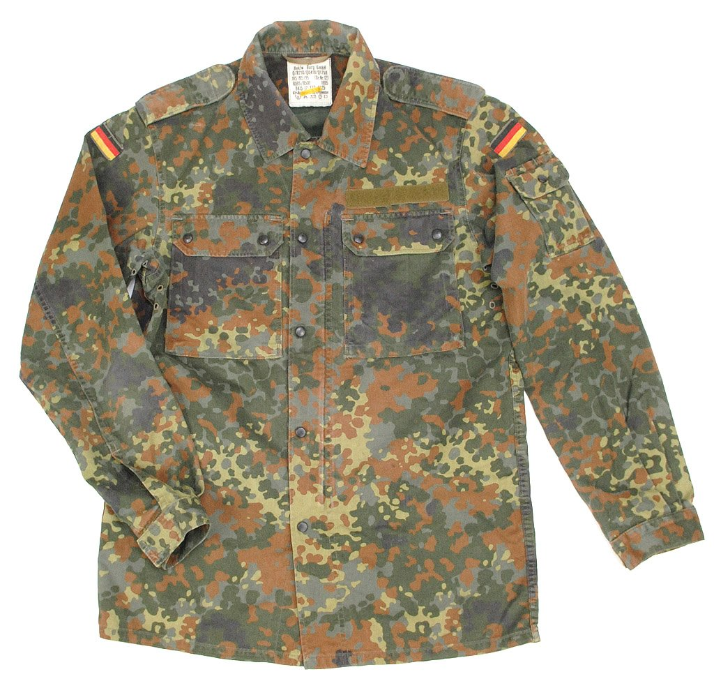f32a8f9fc962a Amazon.com: German NEW Flecktarn Field Shirt(44 inch - Long (GR15)): Sports  & Outdoors