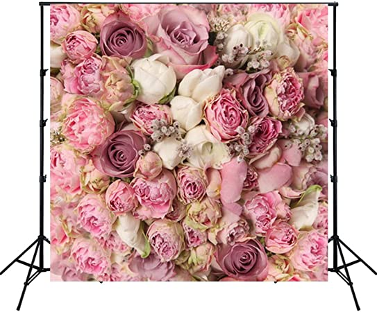 10x15 FT Photography Backdrop Classical Pink Roses with Green Leaves on Vertical Borders Old Fashioned Design Background for Baby Shower Birthday Wedding Bridal Shower Party Decoration Photo Studio
