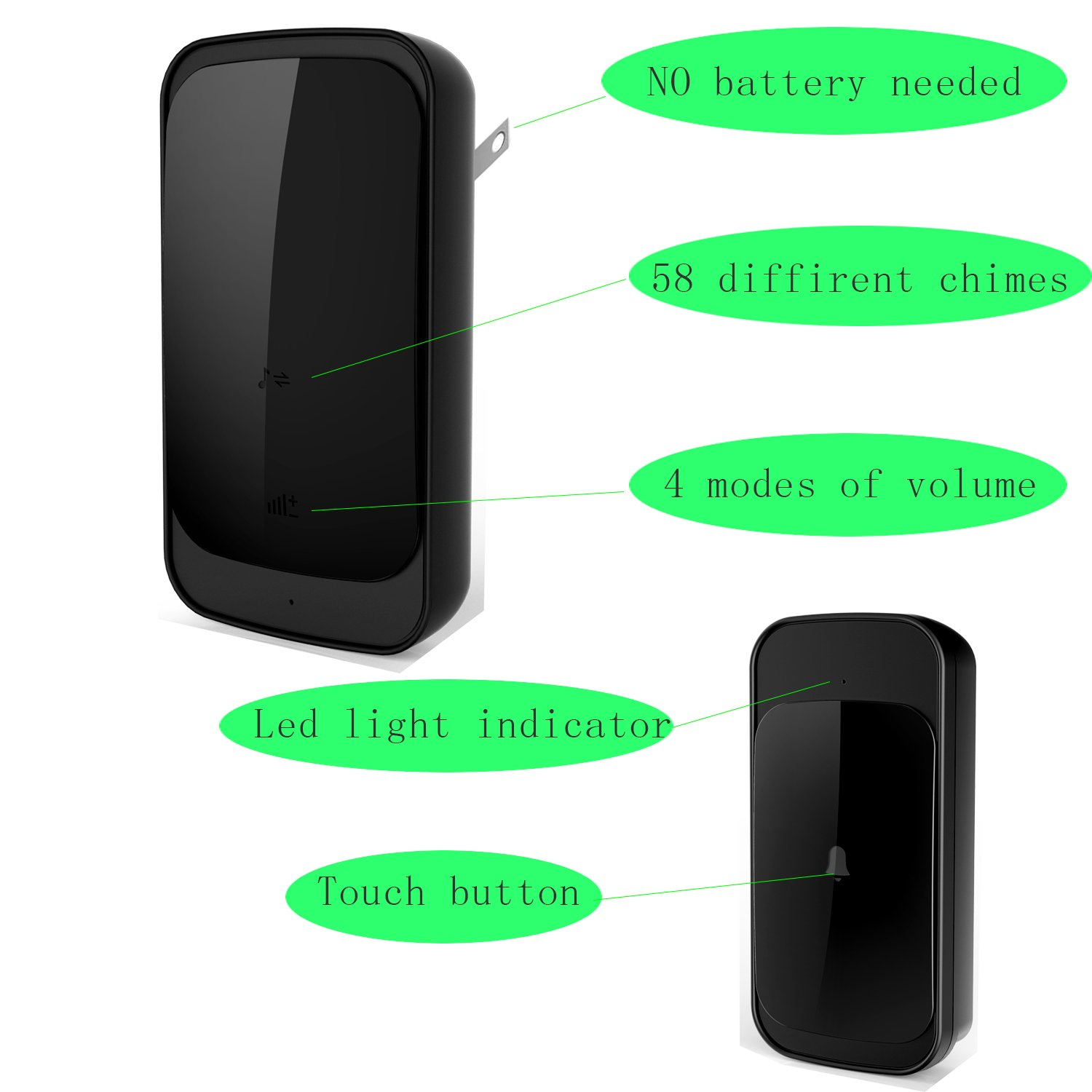 Wireless DoorBell, Anbear Wireless Door bell Chime for home IP44 Waterpoof Operating at 900 Feet with 58 Melodies, 4 Volume Levels & LED Flash by Anbear (Image #6)