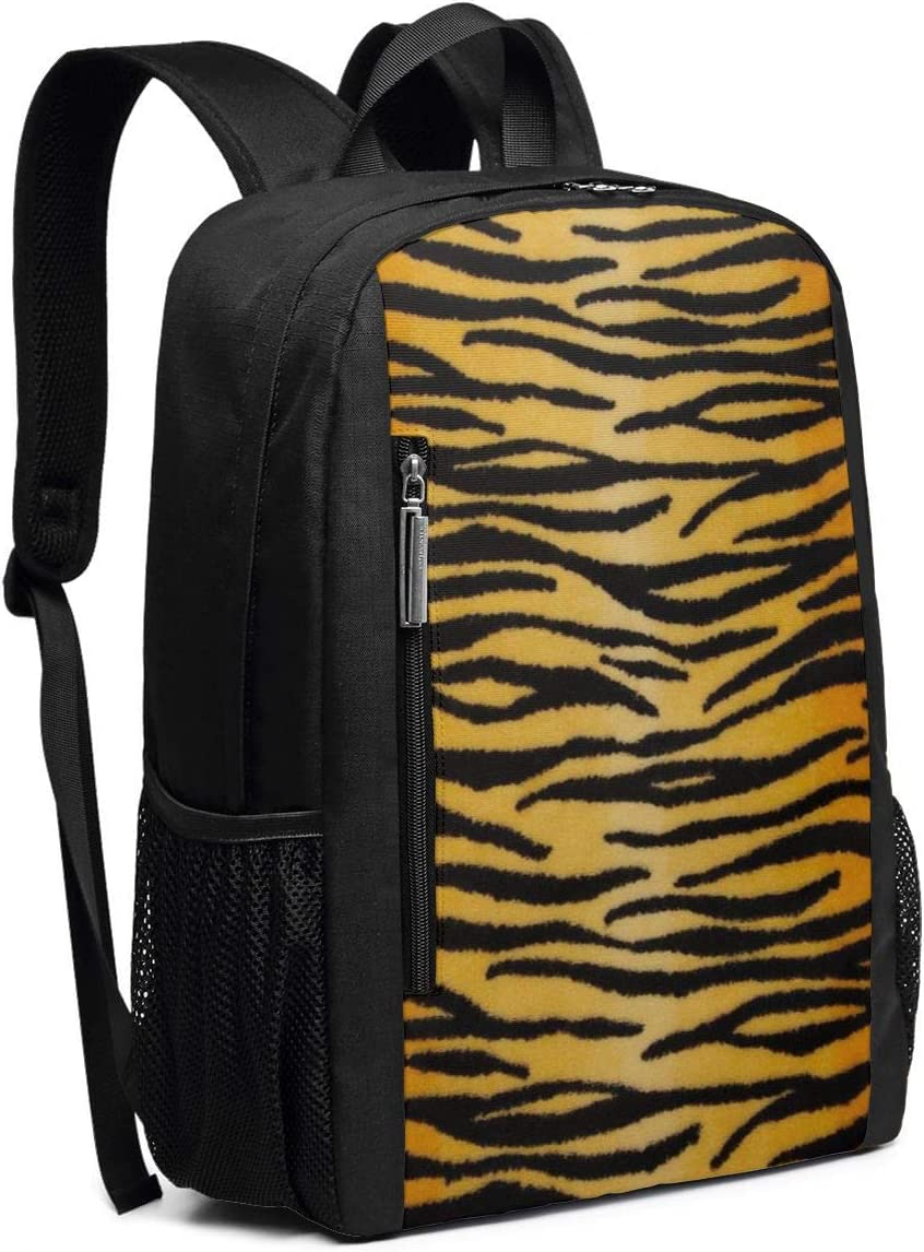 Animal Print Tiger Black Gold Casual Backpack Business Outdoor Travel Camping Bags Notebook for Women Men
