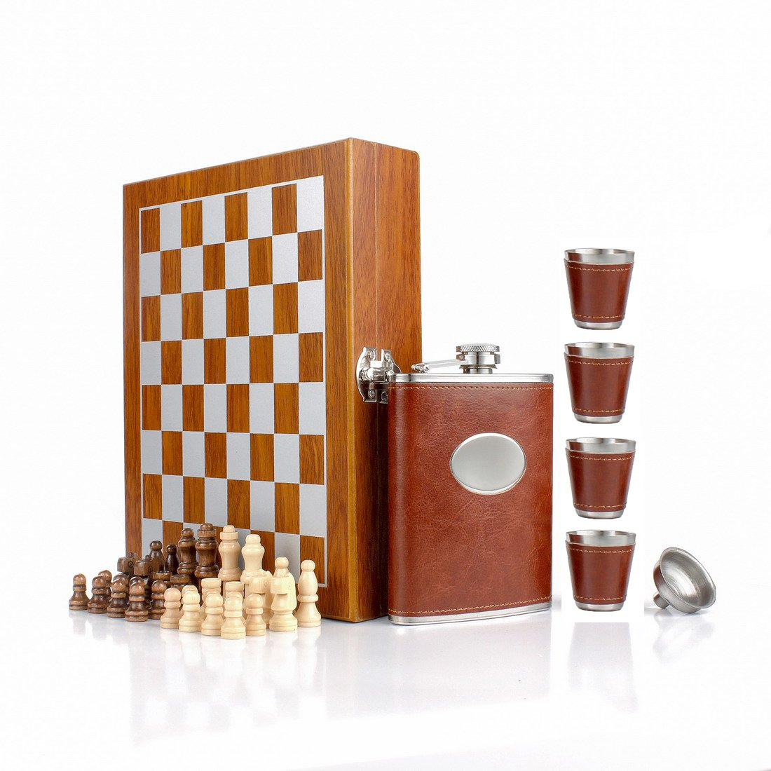 GENNISSY 9.4'' Wooden Chess 8OZ Brown Leather Hip Flask Set - Stainless Steel Flasks With Funnel and 4 Cups Gift Box