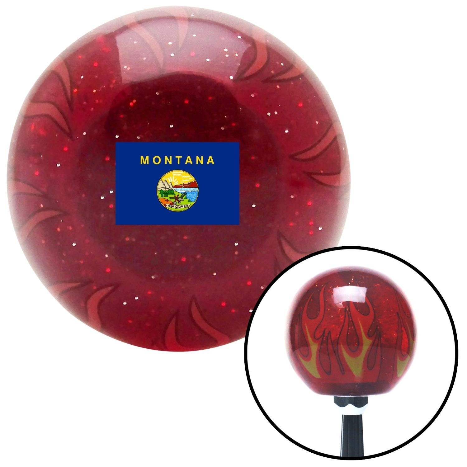 American Shifter 310024 Shift Knob Montana Red Flame Metal Flake with M16 x 1.5 Insert