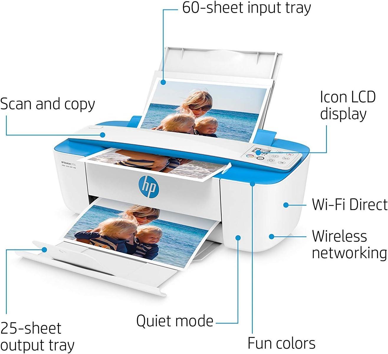 HP Blue DeskJet 3755 Wireless All-in-One Instant Ink Ready Printer