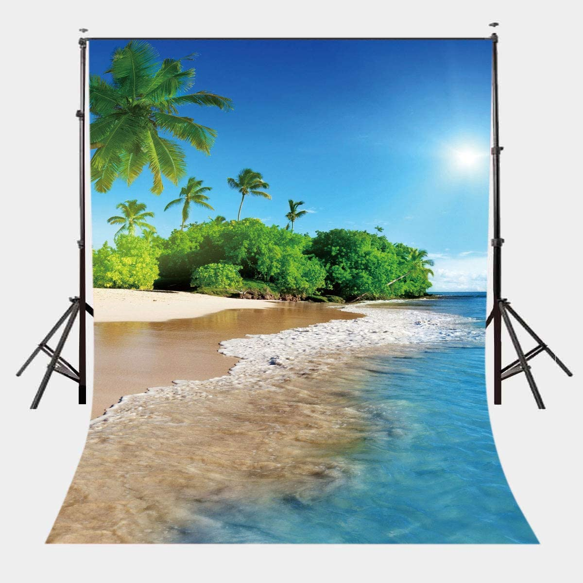 LELEZ Summer Beach Backdrop for Photography 5x7ft Vinyl Blue Ocean Background Palm Tree Photo Backdrop Sand Beach Vacation Theme Party Decoration YouTube Studio Props SPGE477