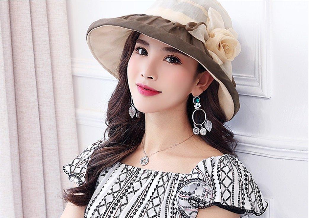 Beige Spring Summer Princess Pleated Foldable UV Sun Hat Cool Cap Silk Visor ZXCV