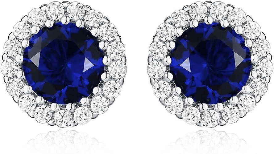 Diamond Sapphire Sterling Silver Earring