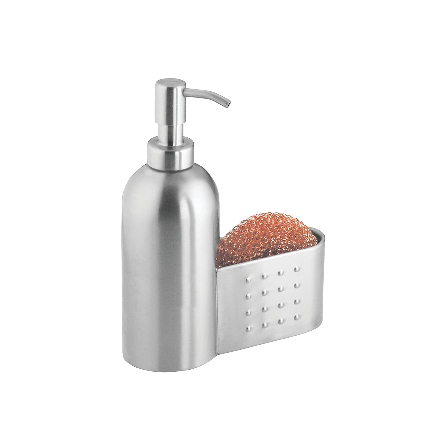 Idesign Forma Kitchen Countertop Stainless Steel Soap Dispenser Pump And Sponge Scrubby Caddy Organizer Brushed