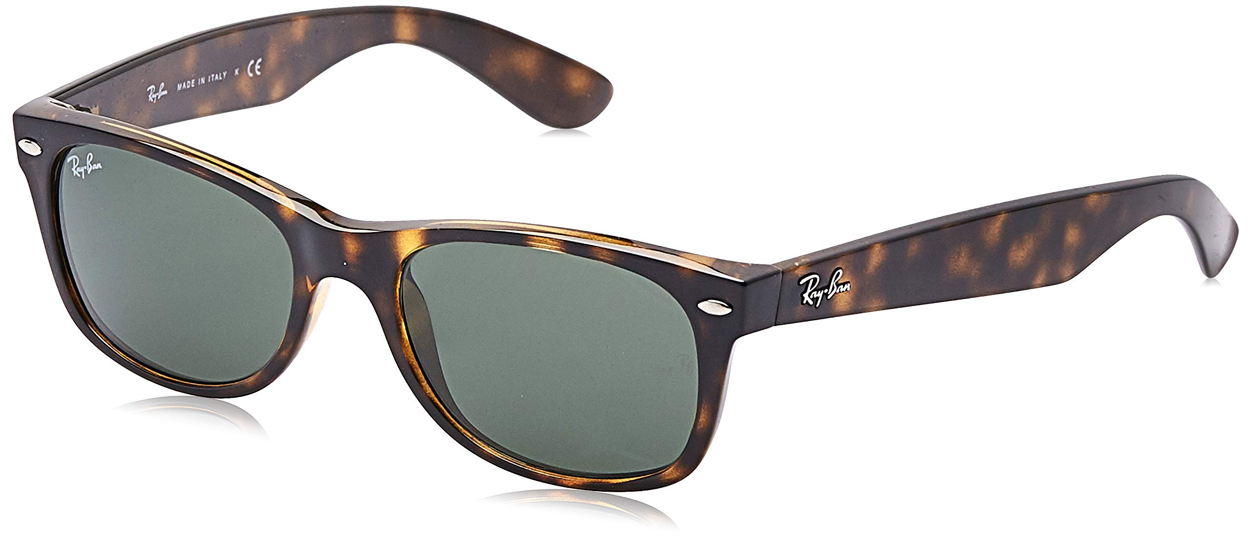 RAY-BAN RB2132 New Wayfarer Sunglasses, Tortoise/Green, 52 mm by Ray-Ban