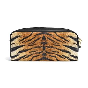 zzkko Tiger Print Funda de piel cremallera lápiz pluma ...