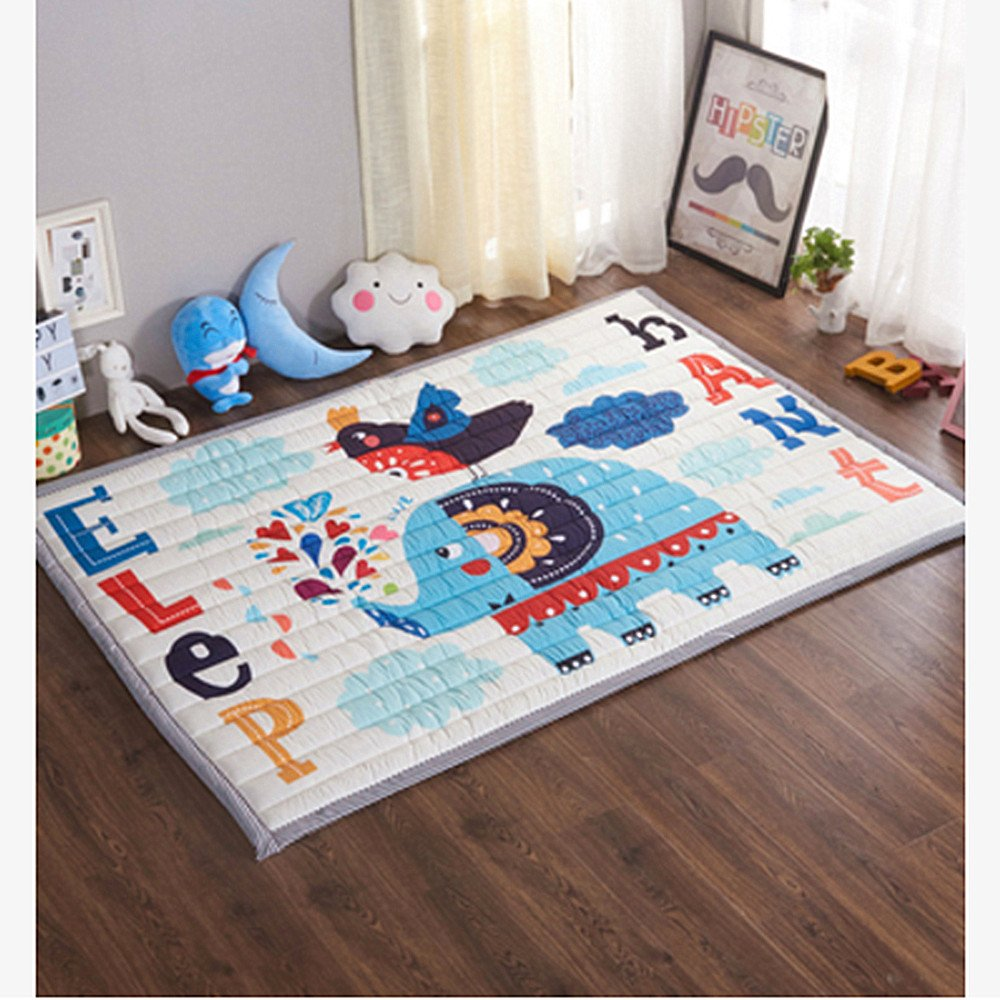 Bear Non-Toxic Non-Slip Reversible Washable Ustide Baby Play Mat Cotton Floor Gym Large
