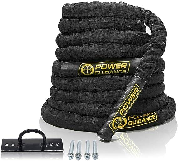 POWER GUIDANCE Cuerda de Batalla Battle Rope - Poliéster Ultra Resistente - 38/50mm Longitud 9m/12m/15m - Ancla Incluida