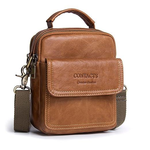 Contacts Mens Genuine Leather Crossbody Single-Shoulder 7 quot  Mini iPad  Messenger Tote Bag Brown 52cbe49588