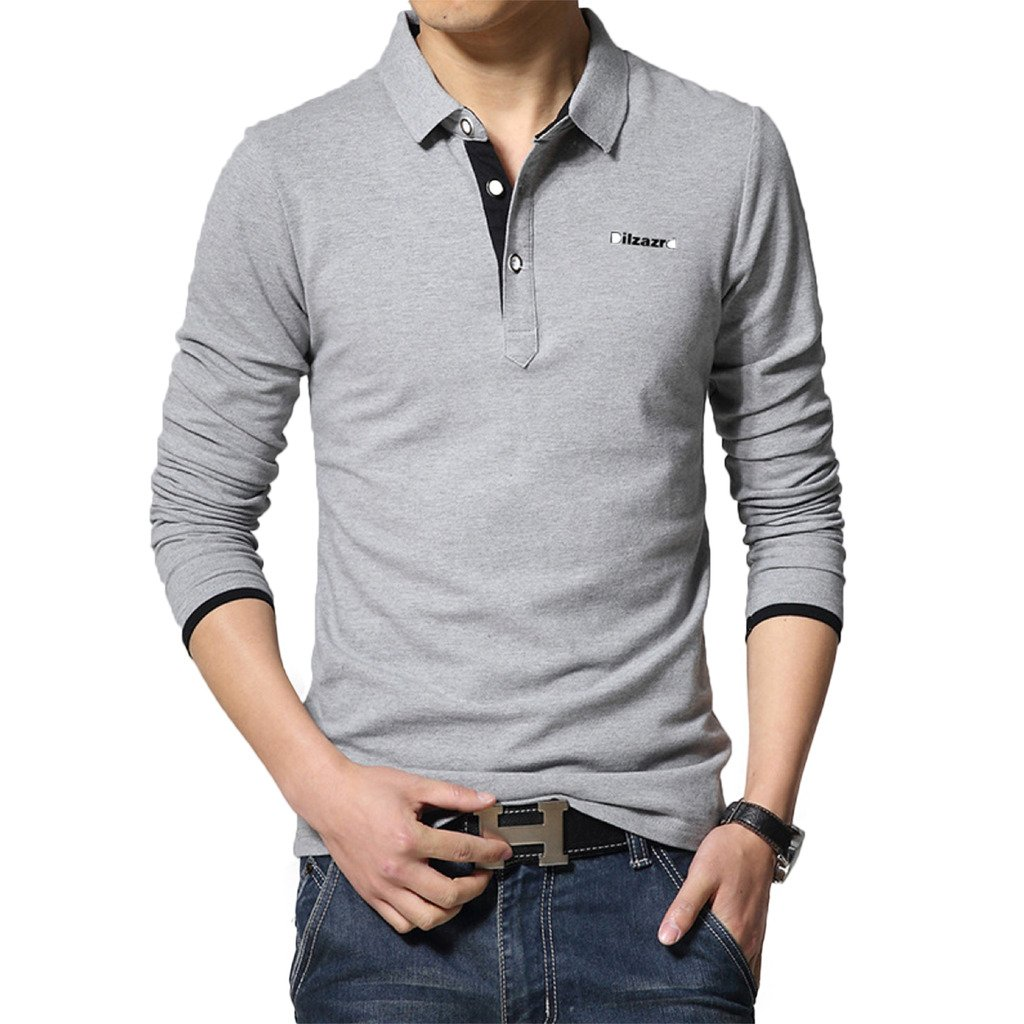 Men's 95% Cotton Casual Classic Long Sleeve Tops Polo T-Shirts Solid Color TX0150