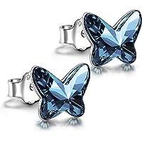 ANGEL NINA Pendientes Mariposa Mujer y Niña,Pendientes Plata de Ley 925 con Mariposa Cristal de Austria,Joyas Regalo…