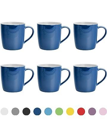 0894acae715 Argon Tableware Tea Coffee Ceramic Contemporary Coloured Mugs - 340ml -  Pack of 6