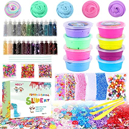 Amazon Com Diy Slime Kit Supplies Fluffy Slime And Clear Crystal