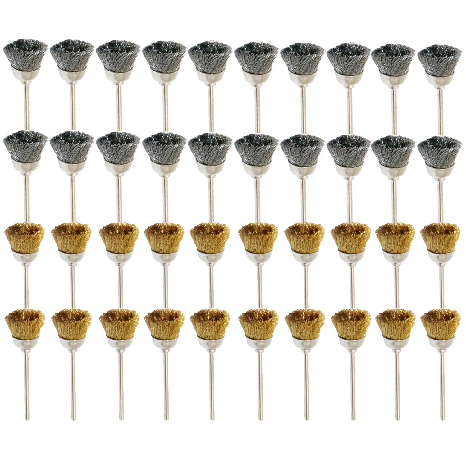 NIUPIKA 3mm Steel Brass Wire Brushes Wheel Cleaning Cup Brush Polishing Attachment for Dremel Die Grinder Rotary Tools 40 Pcs HBM0061