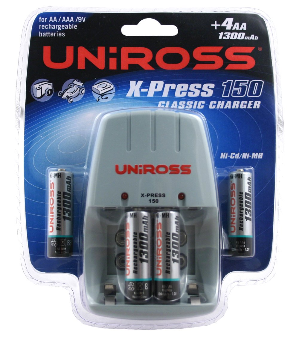 Uniross Classic Xpress 150 Charger With 4 X Aa 1300 Mah Rechargeable Usb Port Nimh And Nicd Battery By Ic 393 Batteries Health Personal Care