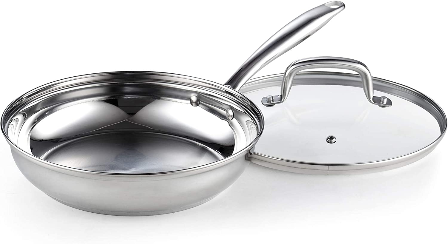 3-Quart 10-Inch Saute Pan Cook N Home 02610 Stainless Steel Fry Lid Silver