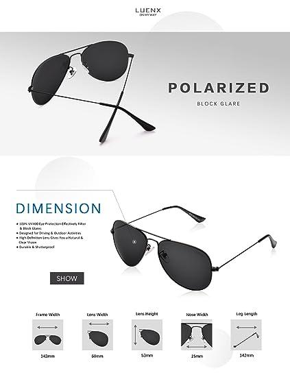 LUENX Homme Lunettes de Soleil Aviator polarisées Au volant with Cas - Protection UV 400 Noir lunettes 60mm uQAhrJrcT