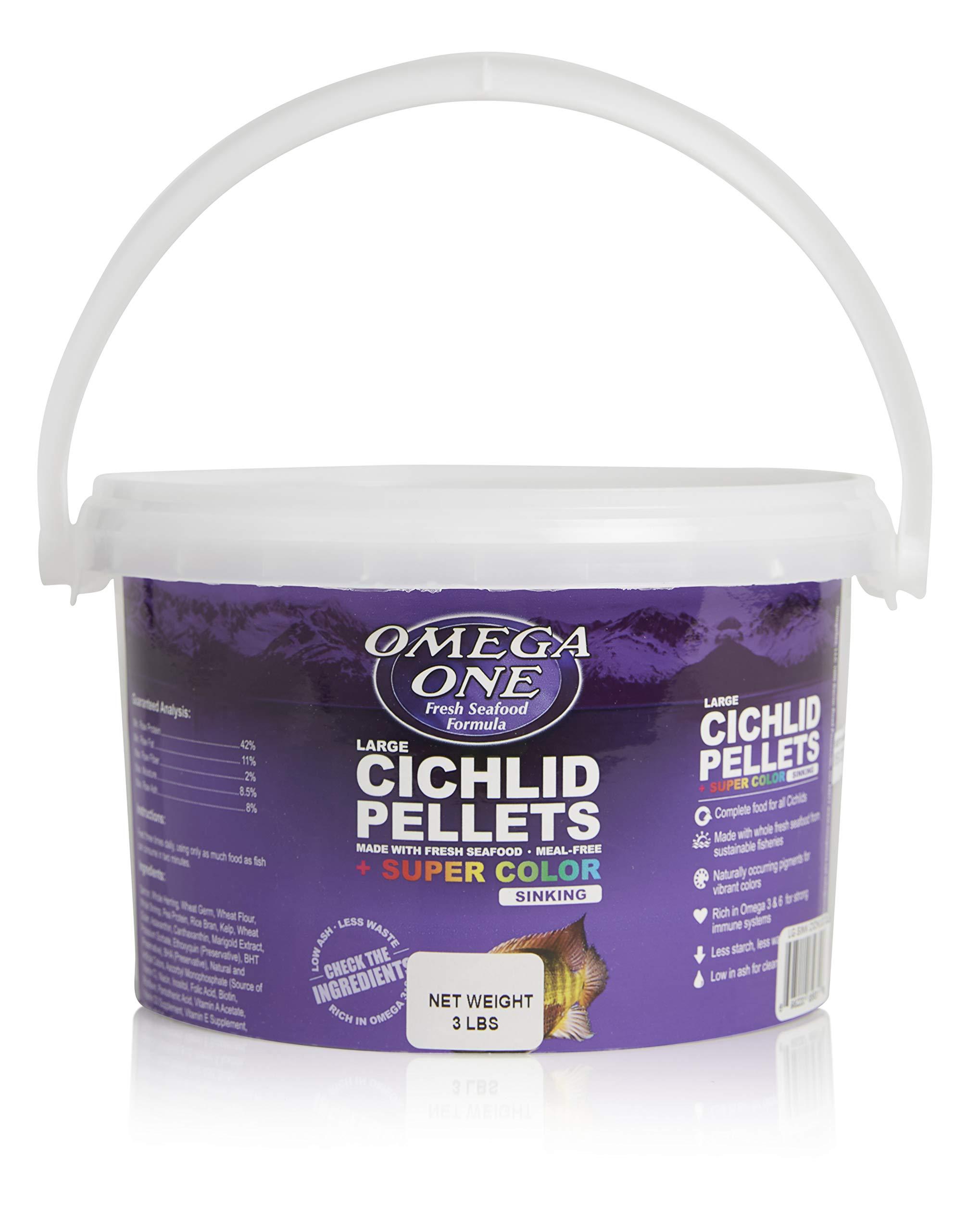 Omega One Super Color Sinking Cichlid Pellets, 2mm Large Pellets, 3 lb Bucket by Omega One