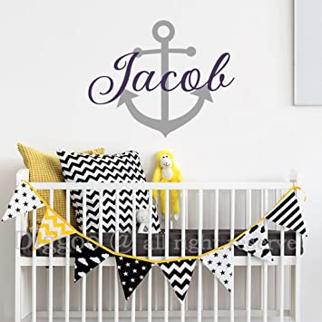 f656649f97510 Amazon.com: Personalized Baby Name Monogram Wall Decal Anchor Wall ...