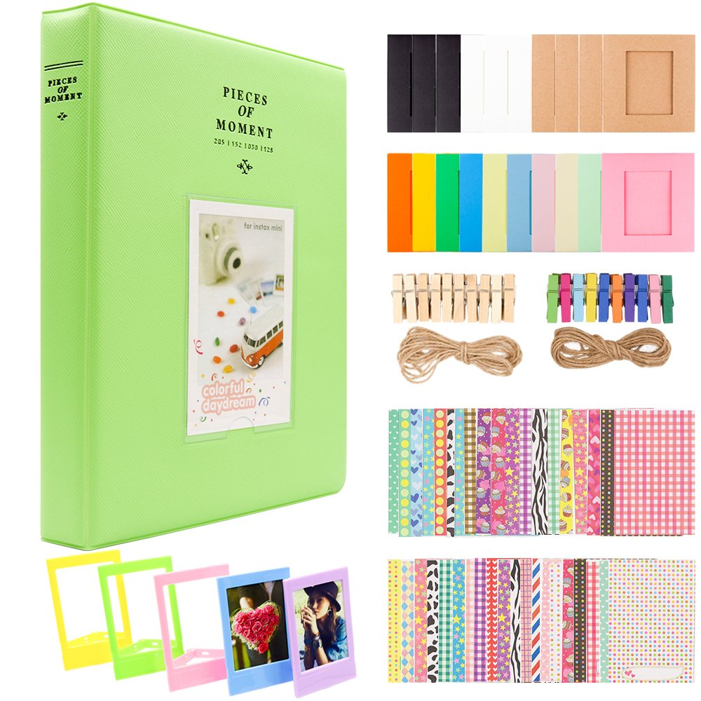 Ablus 2x3 Inch Photo Paper Film Album Set for Fujifilm Instax Mini Camera/HP Sprocket Photo Printer/Polaroid Snap, Z2300, SocialMatic Instant Cameras & Zip Instant Printer (128 Pockets, Lime Green)