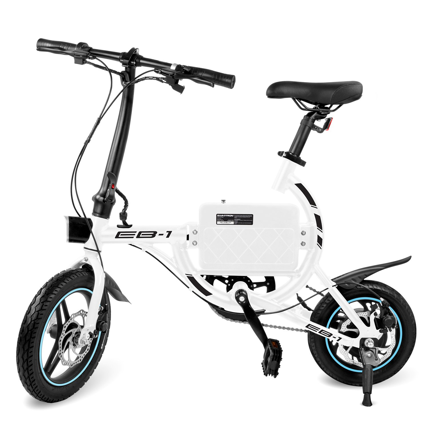 SwagCycle EB-1 Lightweight Aluminum Folding eBike with High-Torque 250W Motor and Dual Disc Brakes; Electric Bike with Pedal-Assist and Swappable Bike Seats (White) by Swagtron