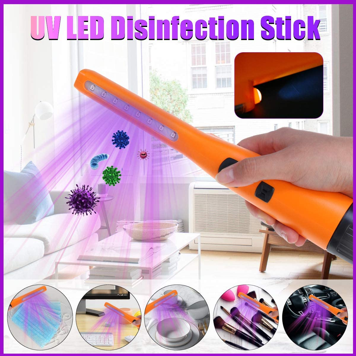 UV LED Disinfection Stick EIVOTOR UV lamp Portable Disinfection lamp USB germicidal Sterilization lamp Ozone sterilizer for Hotel Travel Office Business Trips to Reduce dust Mites