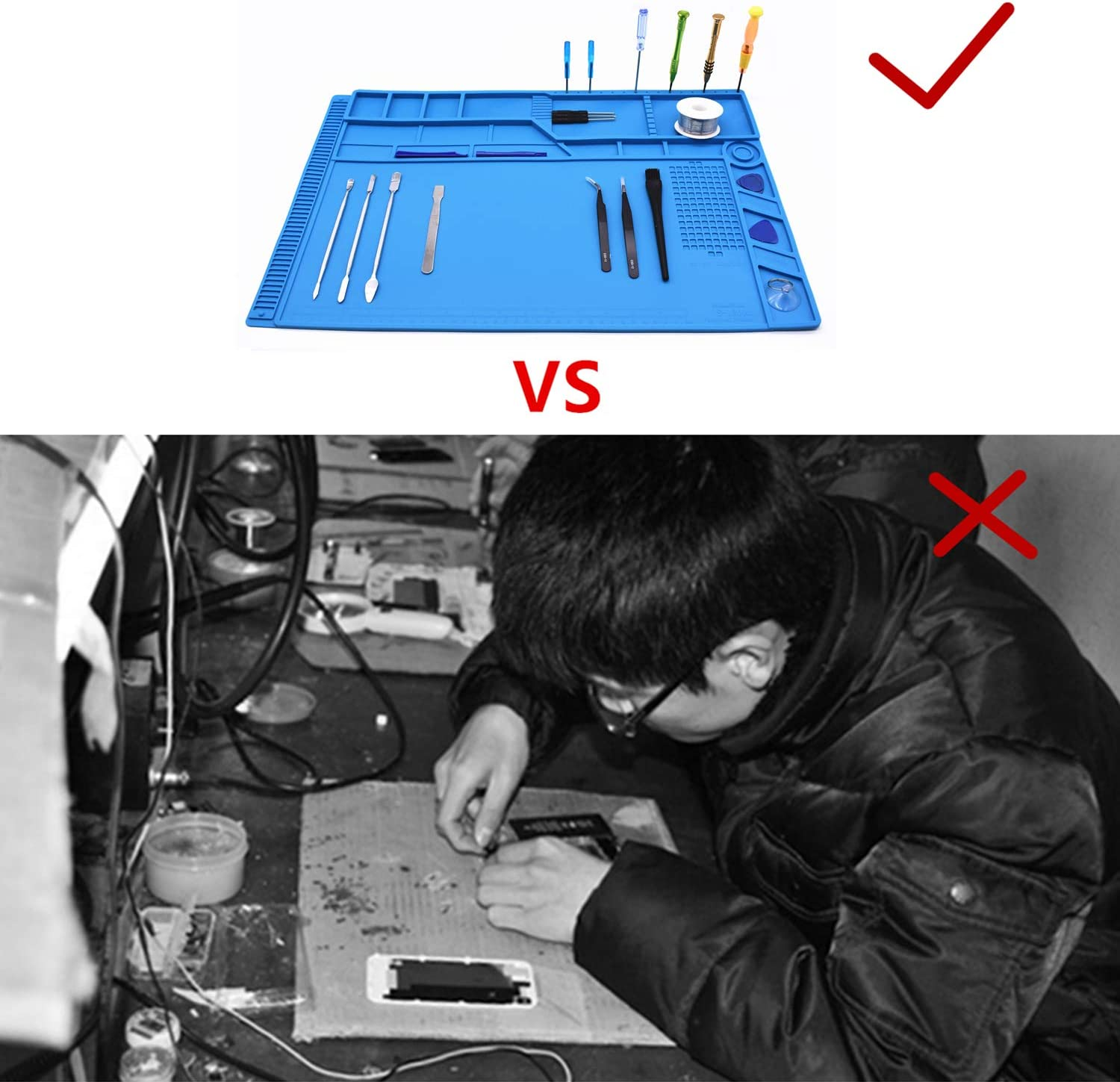 The Size 21.6 x 13.8 inch TXINLEI S180 Large Anti-Static Heat Insulation Silicone Repair Work Mat for Soldering and Computer Repair