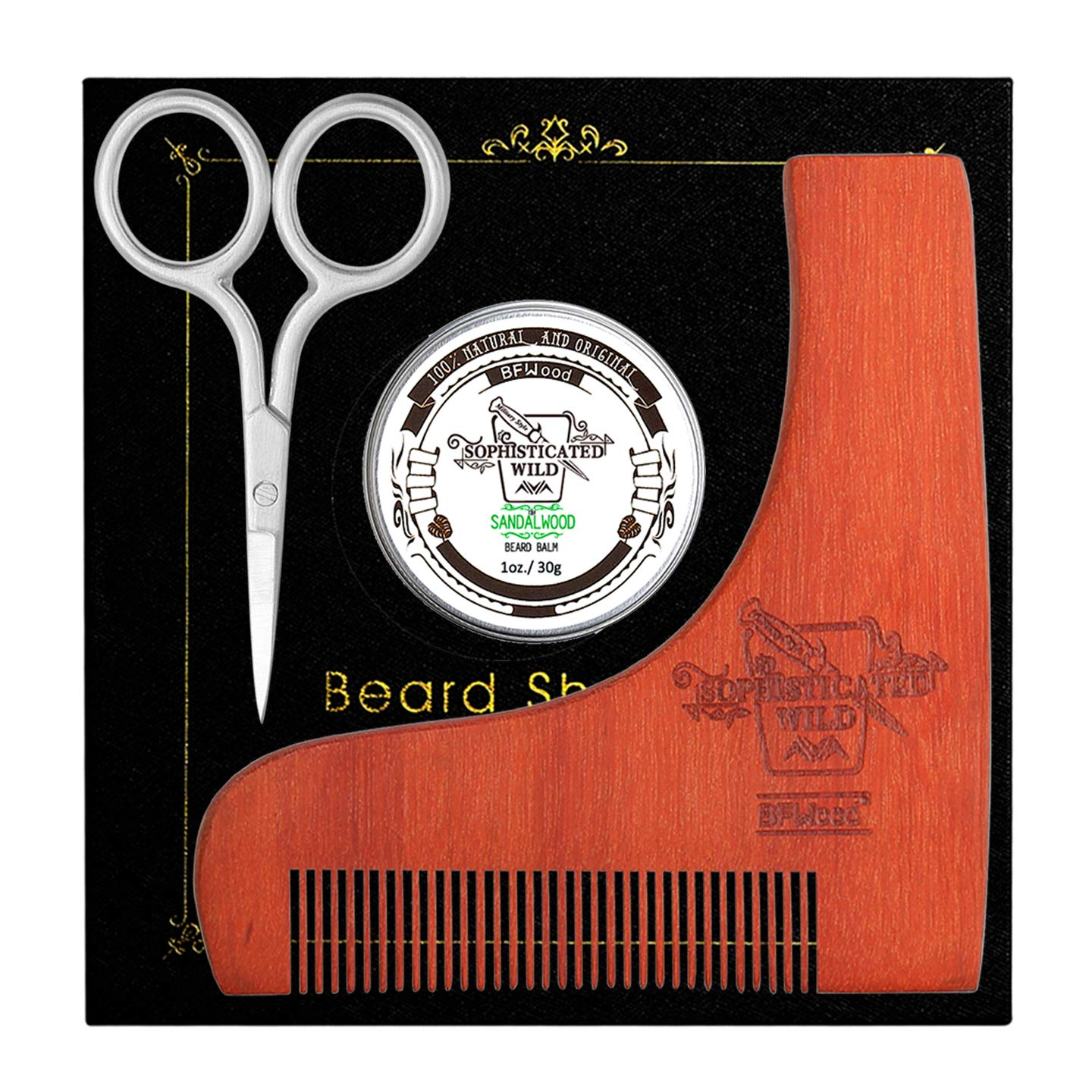 BFWood Beard Shaping Tool and Brush Kit – Unique Facial Hair Beard Brush + Wooden Shaping Template + Beard Balm Sandalwood Scent 30g