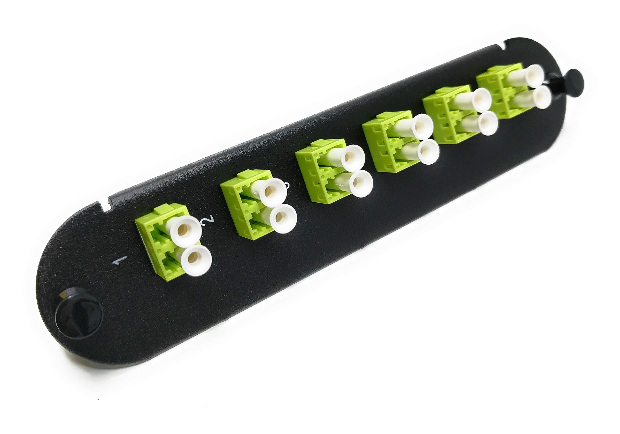 RiteAV - LC/LC (6 Port Duplex w/12 Fiber Connectors) Adapter Panel (Non-LGX) Lime Green/Black (50/125) for Lime Green OM5 Multimode 100Gb