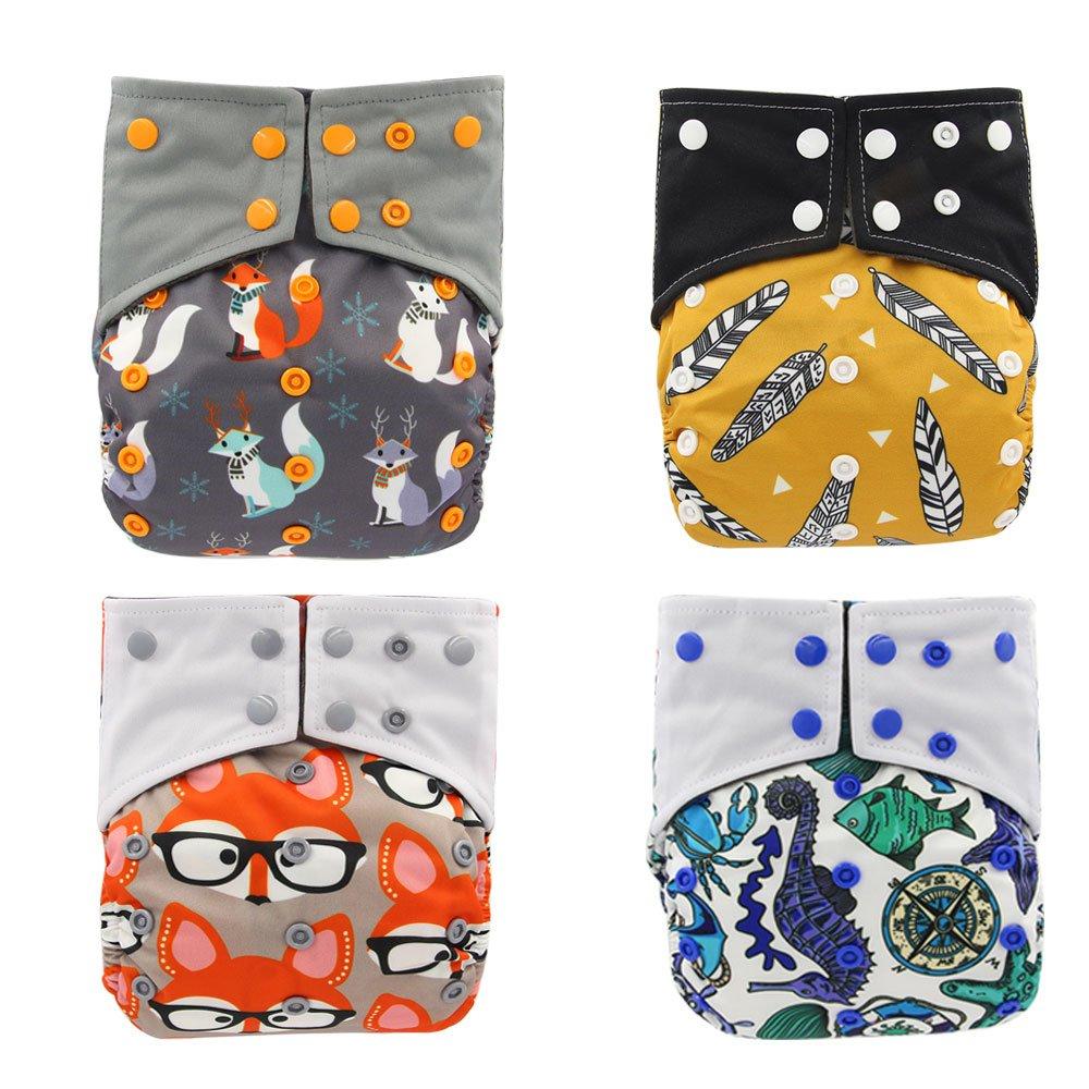 Baby Nappyポケット竹炭布AIOおむつ、挿入で縫製ダブルガセットby OHBABYKA  Style03 B076Z9CNF1