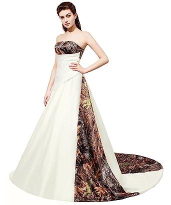 ae84297015789 APXPF Women's Strapless Satin Camouflage Wedding Dress Camo Bridal Gown  Chapel Train Ivory US2