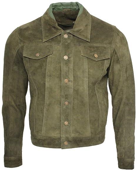 Men's Trucker Casual Khaki Goat Suede Leather Shirt Jeans Jacke by Infinity