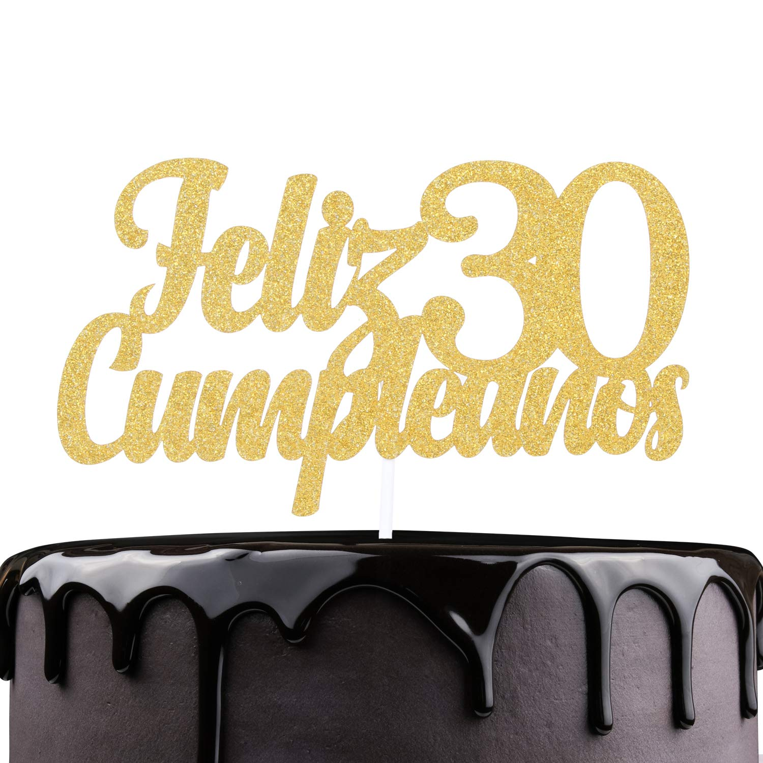 Feliz Cumpleaños 30th Birthday Cake Topper - Gold Glitter Spanish Thirty Years Old Adorno De Cake - Slaying Dirty 30 - Man Woman Trigésimo Años ...