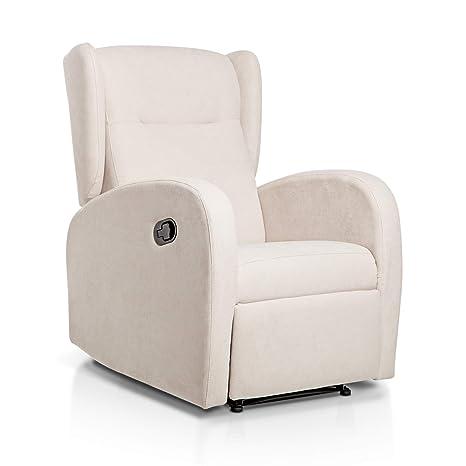 Sueños ZZZ | Sillon relax reclinable HOME tapizado tela antimanchas beige | Sillon reclinable butaca relax | Sillon orejero individual salon | Butaca ...