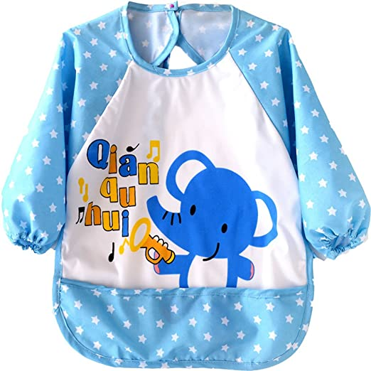 Amazon.com  Waterproof Cute Cartoon Baby Feeding Bibs Apron for 1-3 Years  Old Baby (Blue-Elephant)  Clothing 63db8cbc7