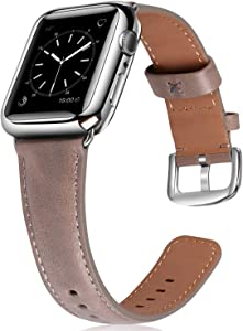 JSGJMY Leather Band Compatible with Apple Watch 38mm 40mm 42mm 44mm Women Men Strap for iWatch SE Series 6 5 4 3 2 1(Oil Wax Gray with Silver Clasp, 42mm/44mm M/L)