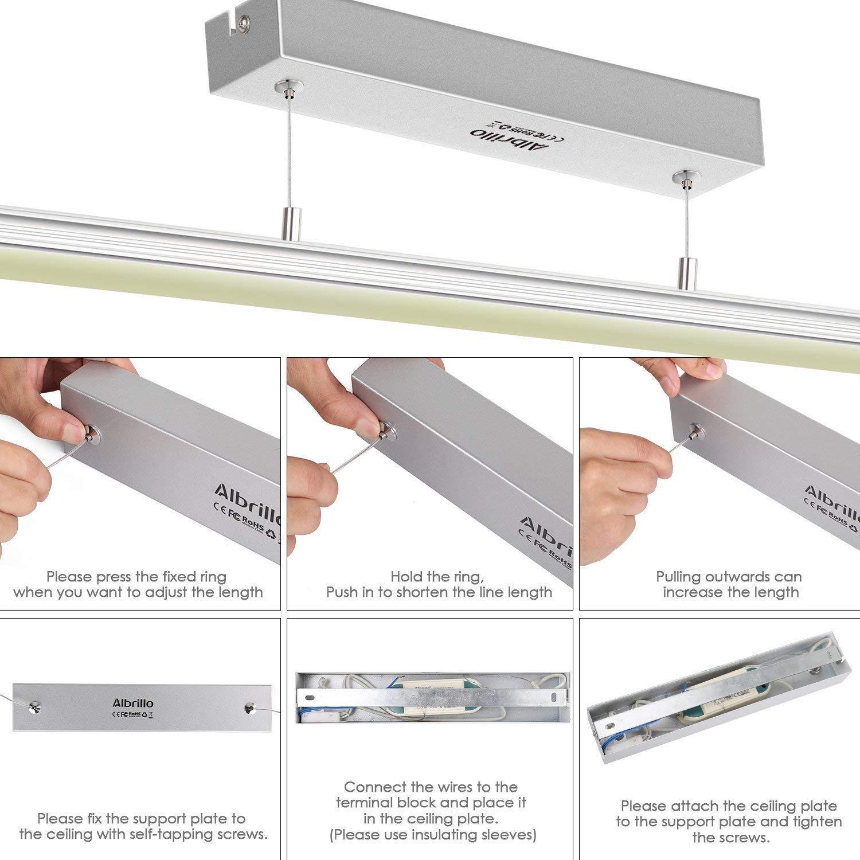 Moderne pour Salle /à manger Blanc Chaud 3000K 1440LM Albrillo 18W Suspension LED salon et Restaurant Suspension Luminaire en Aluminium Hauteur R/églable