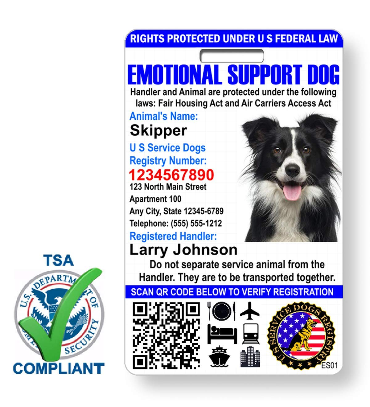 Just 4 Paws Custom Holographic QR Code Emotional Support Dog ID Card with Registration to Service Dogs Registry with Strap - Portrait Style by Just 4 Paws