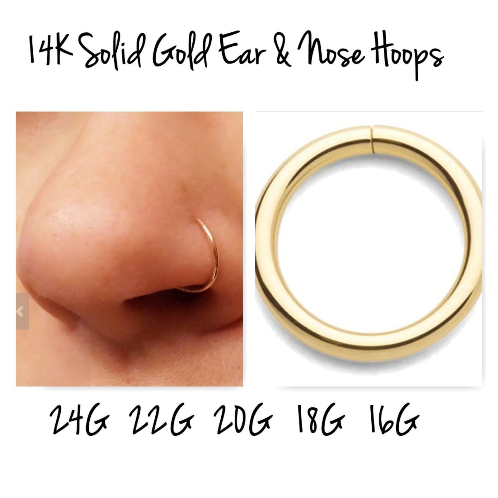 14K Yellow Gold Cartilage Hoop Earring Nose Ring 24g 22g 20g 18g 16g Eyebrow Lip Navel Belly Button Daith Conch Helix Tragus Orbital Rook Snug Auricle Pinna Scaffolding Industrial