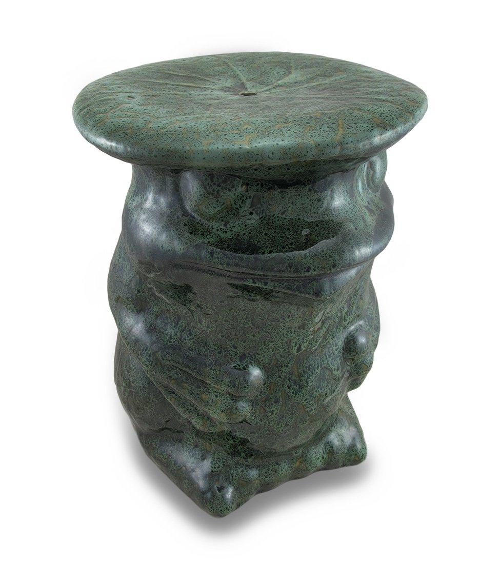 Hellen Grün Keramik Frosch Dekorative Accent Hocker Garten Ständer