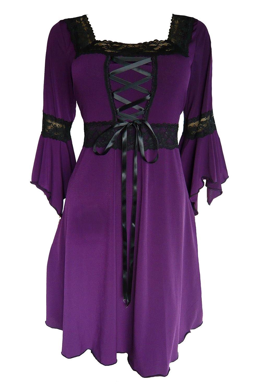 Dare to Wear ルネサンス期のコルセットドレス ビクトリア風 ゴシック調 ボーホー 魔女のようなレディースのガウン 日常着 ハロウィン衣装 お祭り用 B009NKT2PM 4L|プラム プラム 4L