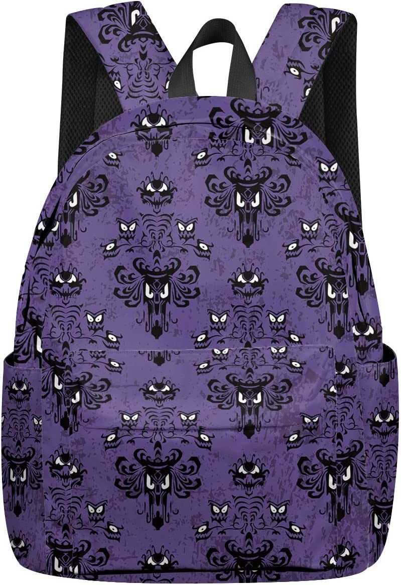 Halloween Goth Backpack Haunted Mansion Printed Casual Backpack Laptop School Bag for Boys Girls Travel Daypack