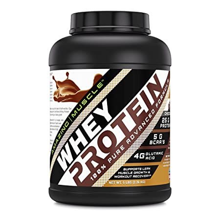 Amazing Muscle 100 Whey Protein Powder *Advanced Formula With Whey Protein Isolate as a Primary Ingredient along with Ultra Filtered Whey Protein Concentrate Chocolate, 5 lb