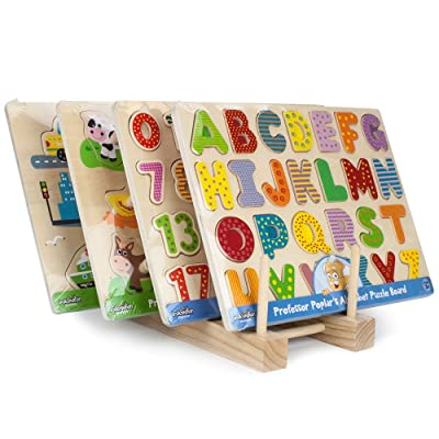 Imagination Generation Professor Poplar's Puzzle Bundle: Alphabet, Numbers, Barnyard Helpers and People Movers Wooden Puzzles with Natural Wood Display Stand: Toys & Games