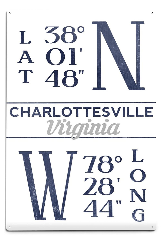 シャーロッツビル – 緯度と経度(ブルー) 12 x 18 Metal Sign LANT-66385-12x18M B06Y1GJP7F  12 x 18 Metal Sign