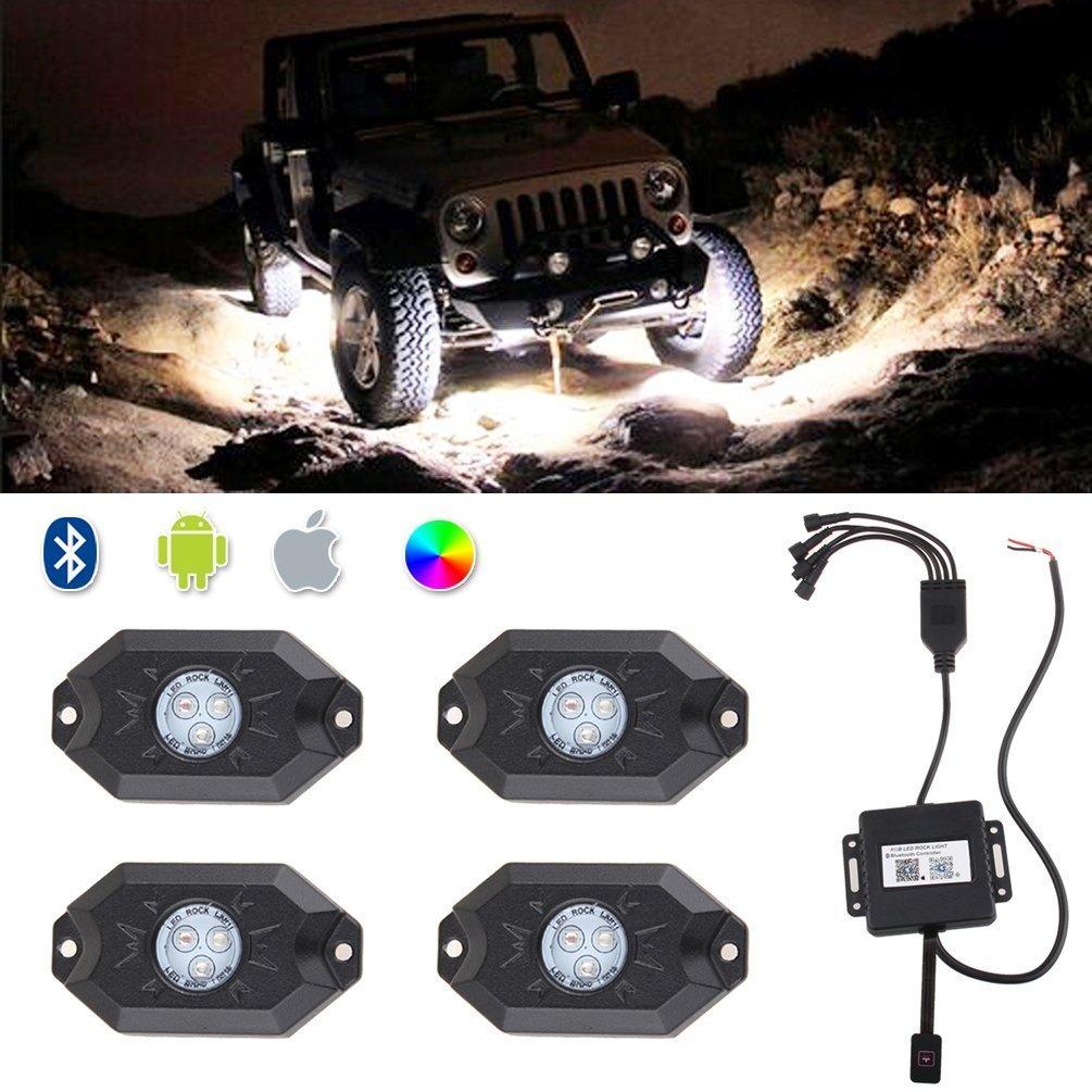 4 cialde Bluetooth Wireless Multi-color RGB 9W Rock Light Reon Kit per camion auto